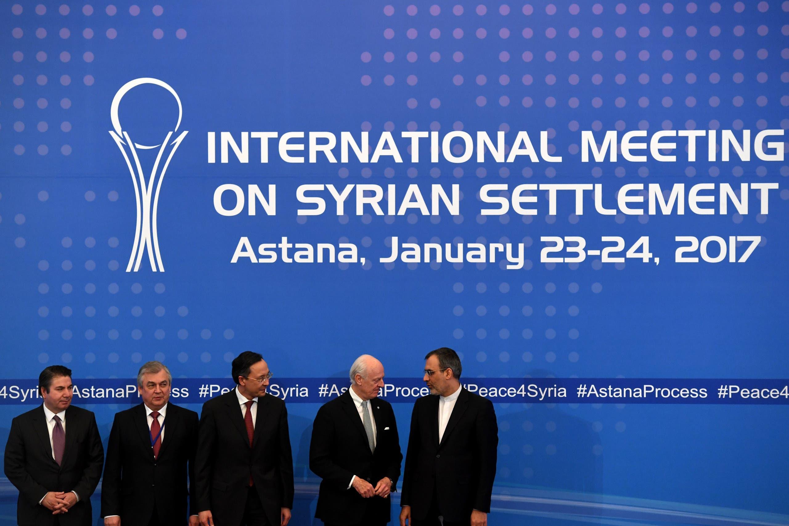 ممثلو روسيا وتركيا وإيران وكازاخستان والأمم المتحدة في المفاوضات