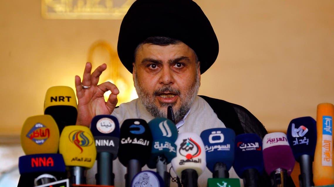 Iraqi Shiite cleric Moqtada al-Sadr speaking at a press conference late 2016 (Photo: Haidar Hamdani/AFP)