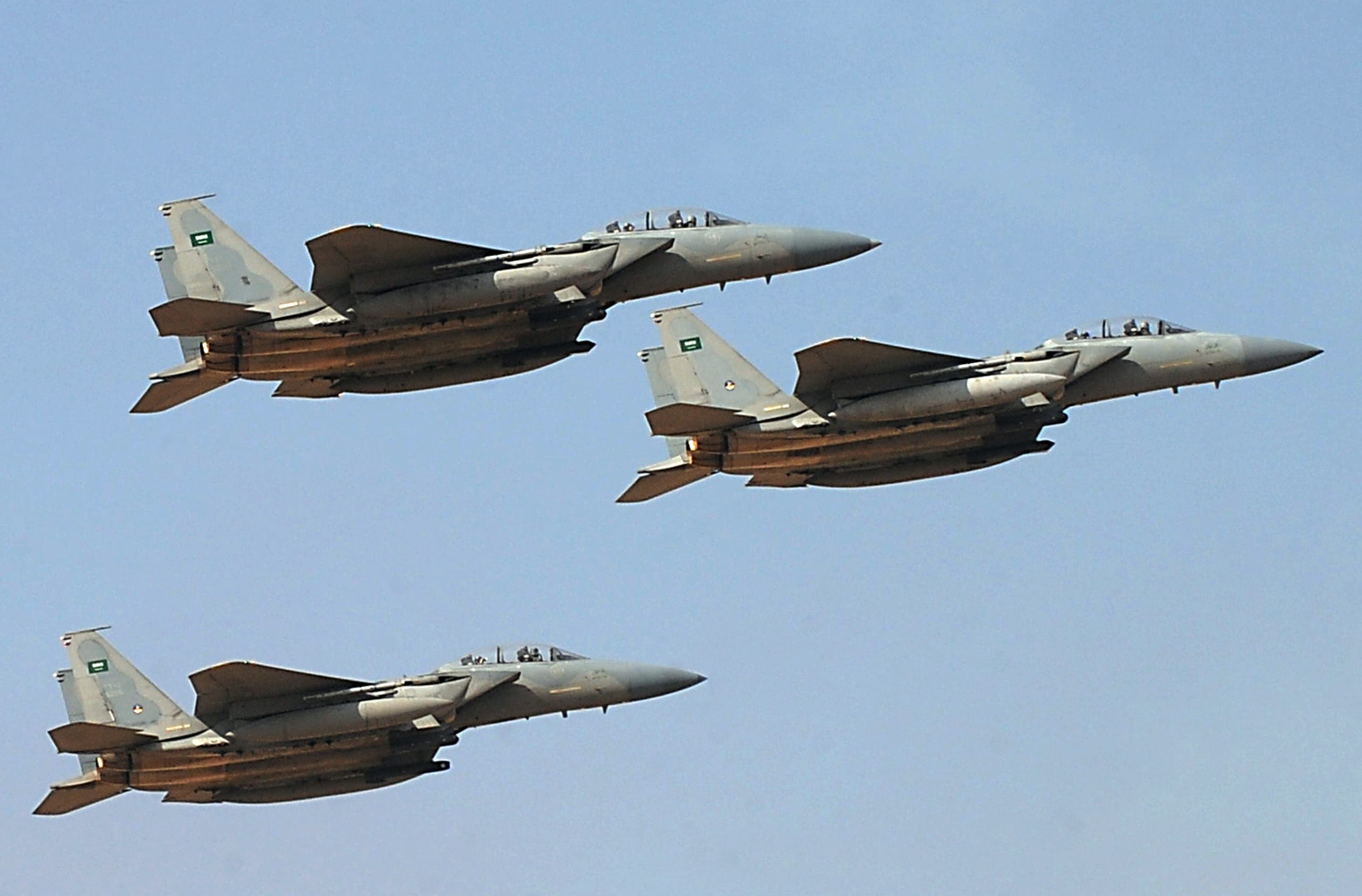 Jet fighters of the Saudi Royal air force performs during the graduation ceremony of the 83rd batch of King Faisal Air Academy (KFAA)