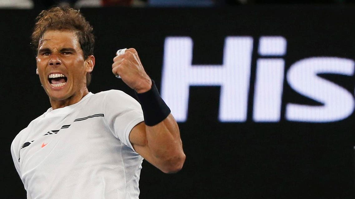 Spain's Rafael Nadal celebrates winning his Men's singles quarter-final match against Canada's Milos Raonic. (Photo courtesy: Reuters)