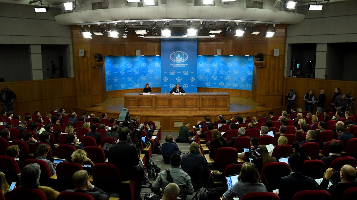 Russian Foreign Minister Sergei Lavrov, accompanied by Foreign Ministry spokeswoman Maria Zakharova, gives his annual press conference in Moscow on January 17, 2017. Sergei Lavrov said on January 17 that one of the goals of upcoming Syria peace talks in the Kazakh capital was to consolidate the frail truce in the war-torn country. AFP