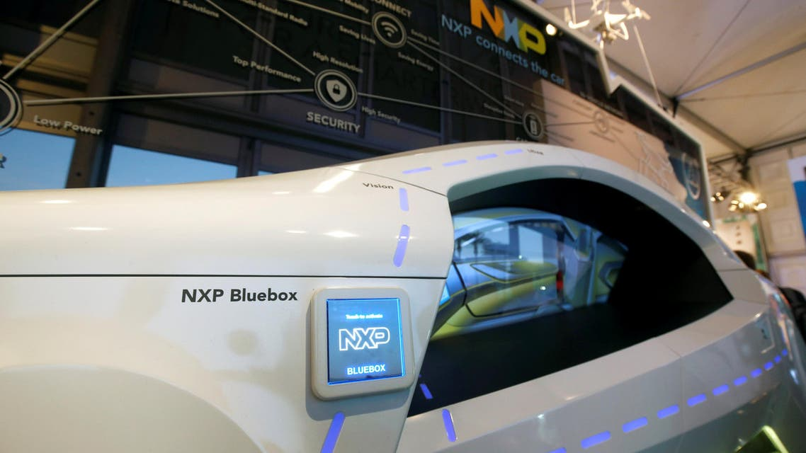 A display on automotive technology is shown in the NXP Semiconductors booth during the 2017 CES in Las Vegas, Nevada, on January 6, 2017. (Reuters)