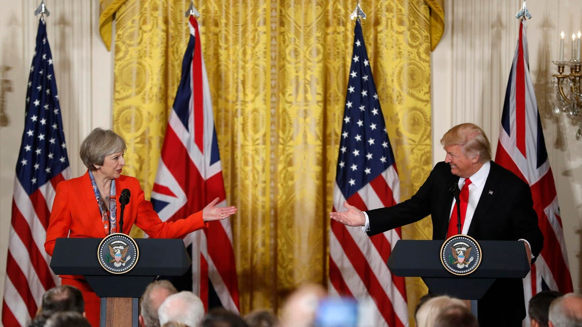 President Donald Trump and British Prime Minister Theresa May participate in a news conference in the East Room of the White House in Washington. (AP)
