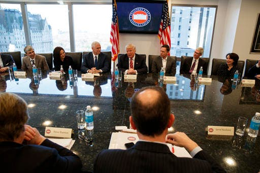 President-elect Donald Trump speaks during a meeting with technology industry leaders at Trump Tower in New York, Wednesday, Dec. 14, 2016. (AP)