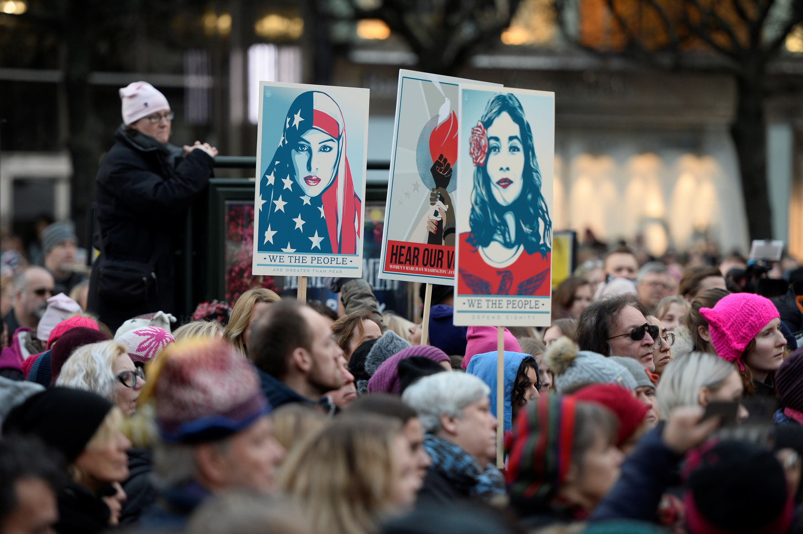 Protesters carrying banners and placards take part in a Women's March in Stockholm, Sweden, January 21, 2017. TT News Agency/Pontus Lundahl via REUTERS.?ATTENTION EDITORS - THIS IMAGE WAS PROVIDED BY A THIRD PARTY. FOR EDITORIAL USE ONLY. SWEDEN OUT. NO COMMERCIAL OR EDITORIAL SALES IN SWEDEN. NO COMMERCIAL SALES.