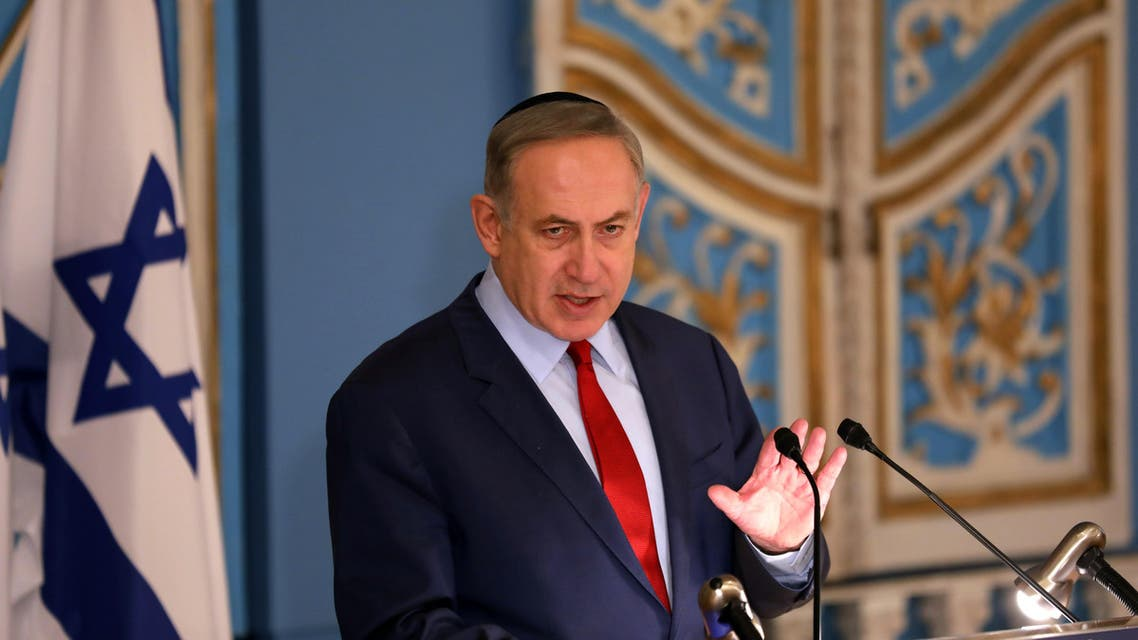 Israeli Prime Minister Benjamin Netanyahu addresses the diplomatic corps based in Israel during an event marking International Holocaust Remembrance Day on January 26, 2017 at the Yad Vashem Holocaust Memorial museum, commemorating the six million Jews killed by the Nazis during World War II.