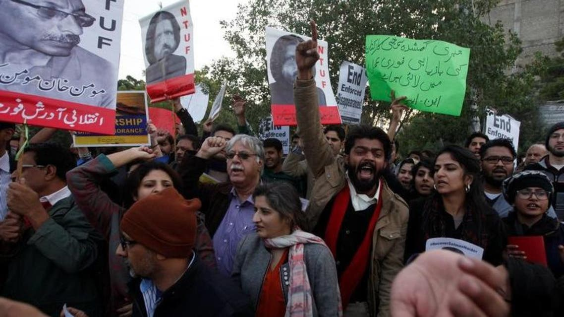 Rights activists demonstrate in Karachi to denounce the disappearance of five Pakistani militants on January 19, 2017. (Reuters)