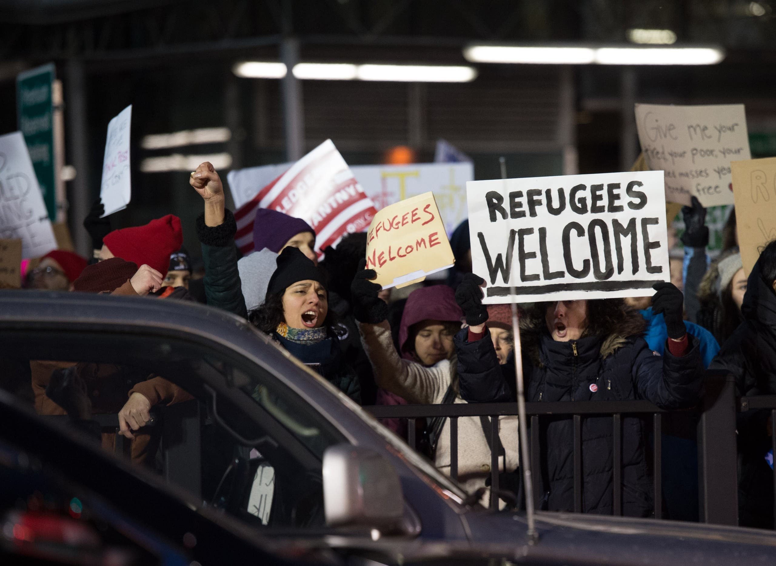 Protesters gather at JFK International Airport against Donald Trump's executive order on January 28, 2017 in New York.