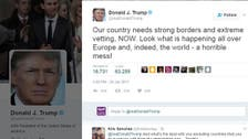 Trump defends travel ban, says US needs 'strong borders'