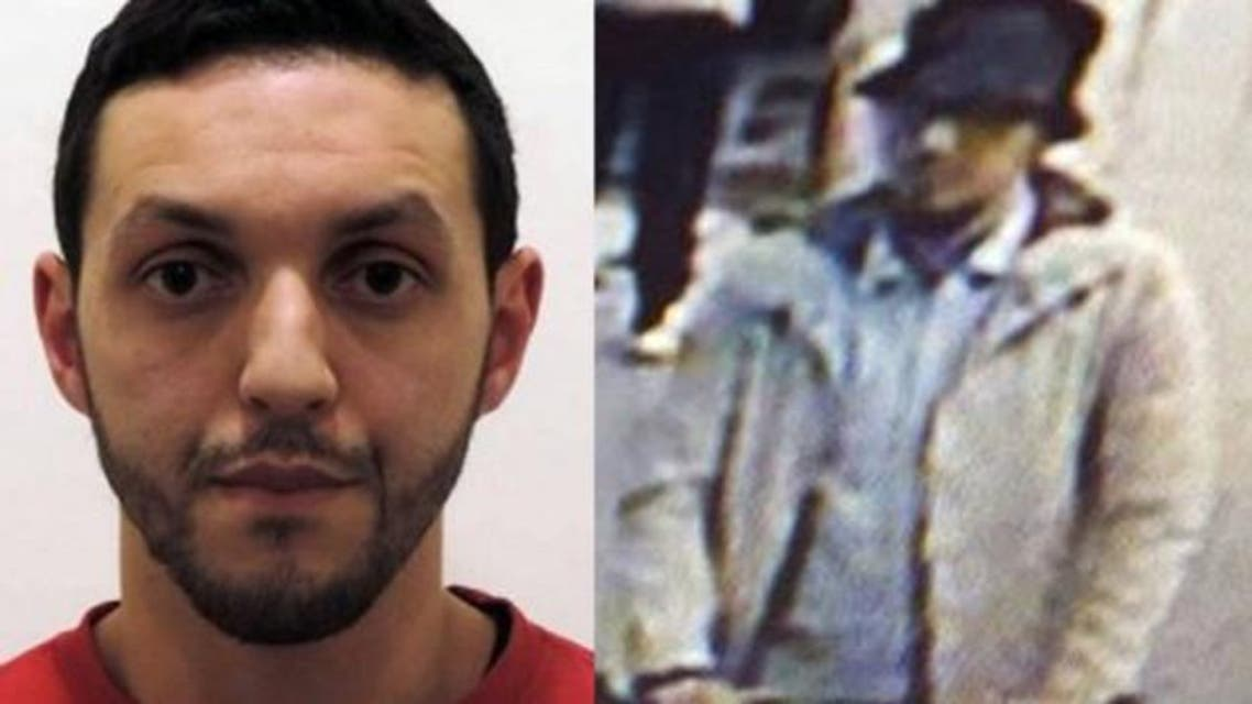 """(FILES) This combo file pictures made on April 10, 2016 shows an undated file picture released on November 24, 2015 by Belgian federal police of Mohamed Abrini (L) and a screengrab of the airport CCTV camera showing a suspect of this morning's attacks at Brussels Airport, in Zaventem, pushing a trolly with suitcases. Paris attacks suspect Mohamed Abrini confessed on April 10, 2016 to being """"the man in the hat"""" caught on video with suicide bombers at Brussels airport last month, images that had sparked a massive manhunt. Mohamed Abrini, a key suspect in the attacks in Paris and Brussels, was handed on January 30, 2017 for a day to the French authorities, announced the Belgian federal prosecutor's office, where he is currently detained."""