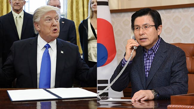 الرئيس الأميركي دونالد ترمب والقائم بأعمال رئيس كوريا الجنوبية هوانغ كيو آن