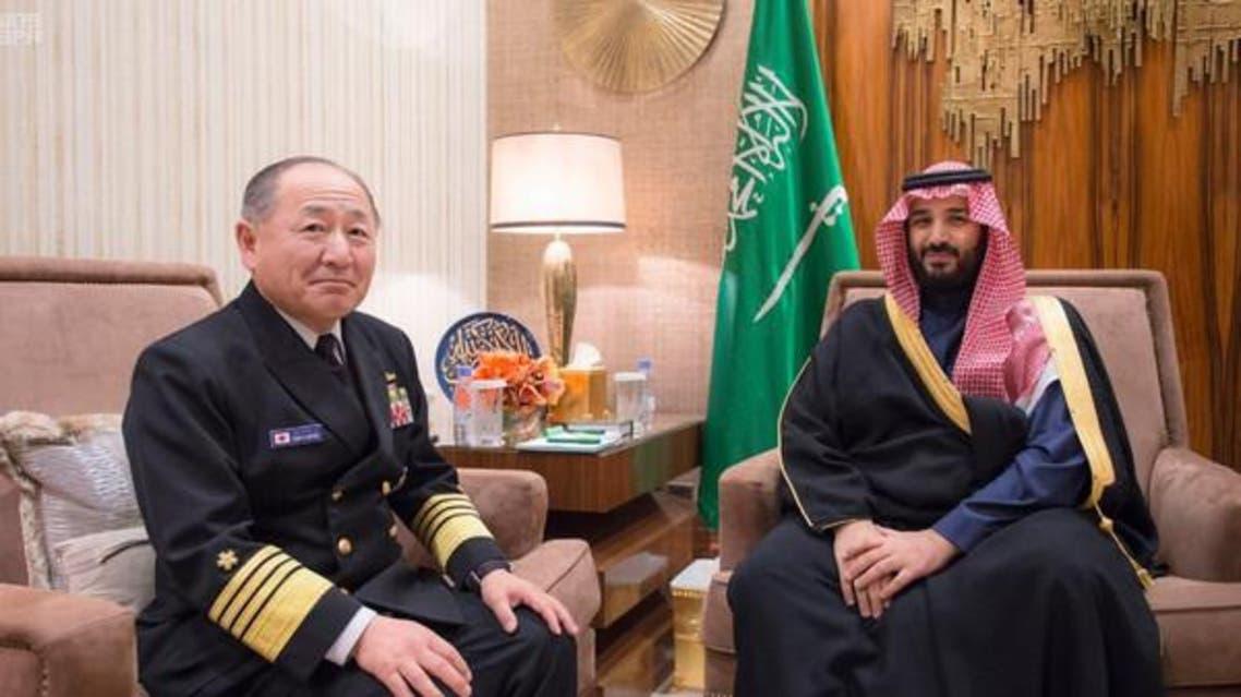 Saudi Deputy Crown Prince MBS with Japan former chief of staff