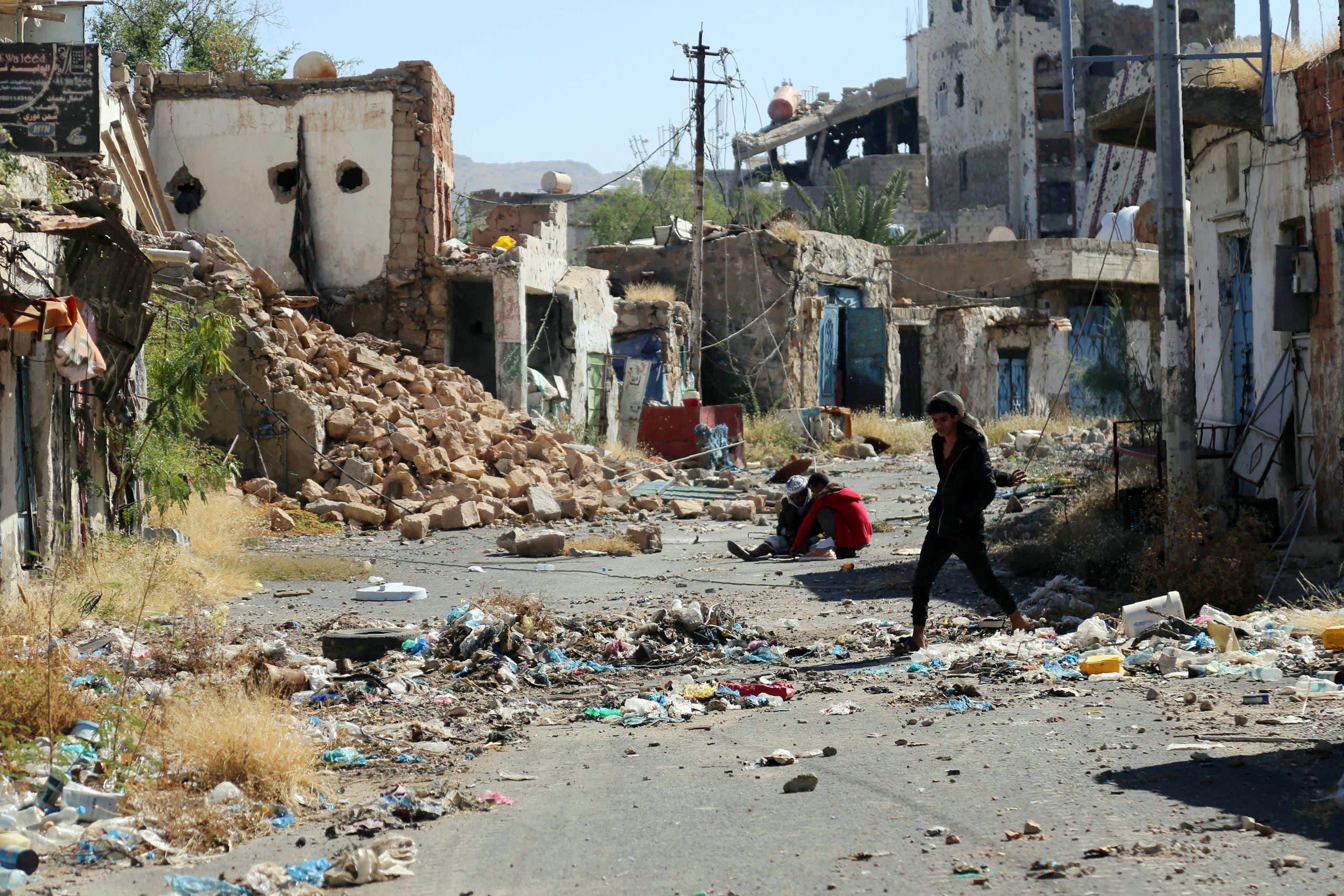 ویرانیهای ناشی از جنگ در تعز