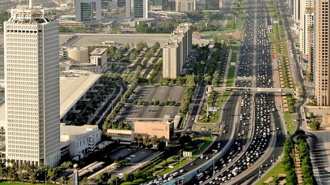 This view from an helicopter shows heavy traffic in Sheikh Zayed road, one of Dubai's fastest growing commercial and consumer districts Dec. 6, 2005. AP
