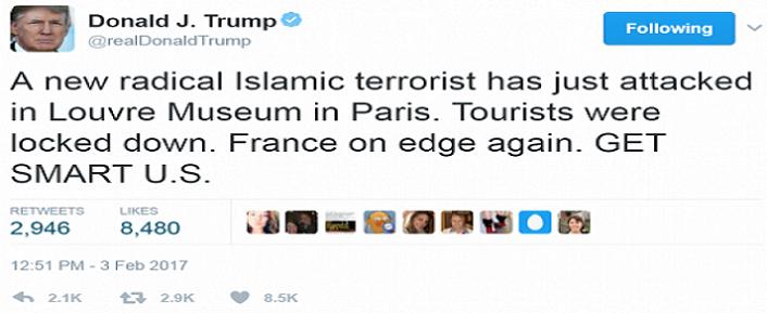 تغريدة دونالد ترمب، كتبها قبل أن تعلم السلطات الفرنسية باسم وجنسية مهاجم المتحف