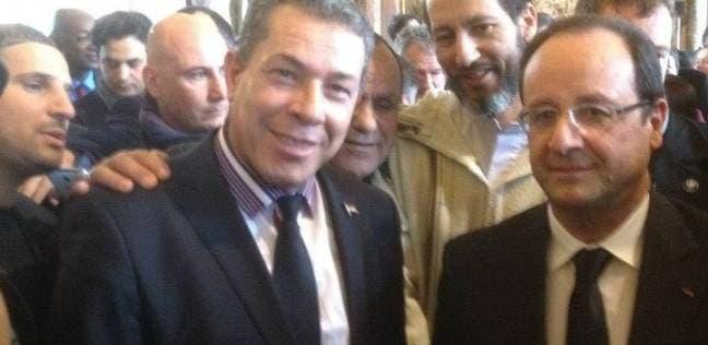 رئيس الجالية المصرية مع الرئيس الفرنسي
