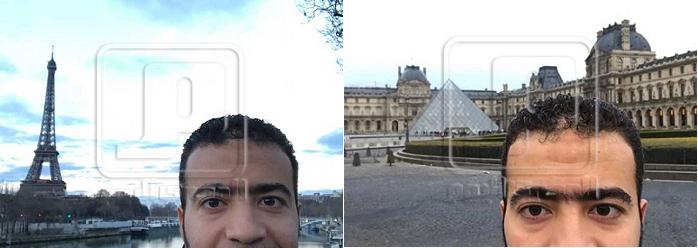 صورتان أرسلهما الحماحمي من باريس لوالده، ونشرتهما المصري اليوم، ووراءه اللوفر بالصورة الى اليمين