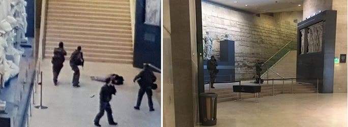 عبدالله الحماحمي داخل  اللوفر بعد أن رماه حرس المتحف بالرصاص