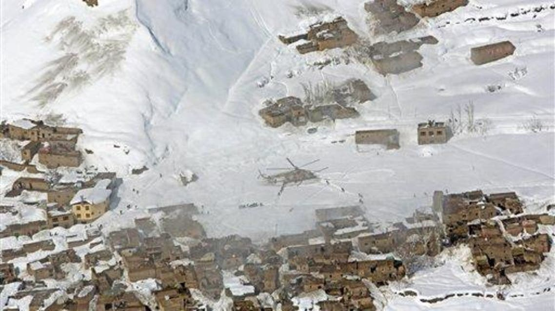 File picture of an Afghan national army helicopter deliverning emergency items after an avalanche in the Paryan district of Panjshir province, north of Kabul, Afghanistan, on Feb. 27, 2015. (AP)