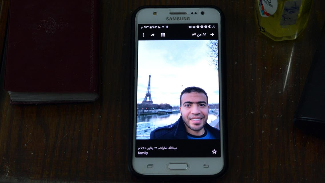 A picture taken on February 5, 2017, shows a picture of Abdallah El-Hamahmy, an Egyptian suspected of being the machete attacker in Paris's Louvre museum, displayed on a mobile phone belonging to his father at the family home in the Nile delta city of Mansura, some 120 kms north of Cairo. A picture taken on February 5, 2017, shows a picture of Abdallah El-Hamahmy, an Egyptian suspected of being the machete attacker in Paris's Louvre museum, displayed on a mobile phone belonging to his father at the family home in the Nile delta city of Mansura, some 120 kms north of Cairo. (AFP)