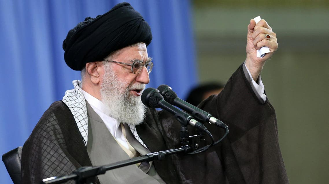 """A handout picture released by the official website of the Centre for Preserving and Publishing the Works of Iran's supreme leader Ayatollah Ali Khamenei, shows him addressing commanders of Revolutionary Guards during a meeting in Tehran on September 16, 2015. Khamenei warned commanders of the elite Revolutionary Guards to be on alert for """"political and cultural"""" infiltration by the United States. AFP PHOTO / HO / KHAMENEI.IR === RESTRICTED TO EDITORIAL USE - MANDATORY CREDIT - """"AFP PHOTO / HO / KHAMENEI.IR"""" - NO MARKETING NO ADVERTISING CAMPAIGNS - DISTRIBUTED AS A SERVICE TO CLIENTS ==="""