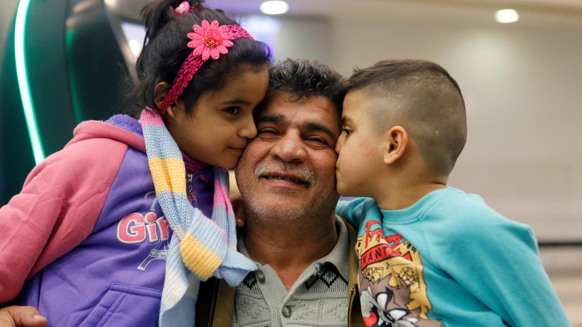 Nizar al-Qassab, an Iraqi Christian refugee from Mosul, sees his children off at Beirut international airport ahead of their travel to the United States, Lebanon February 8, 2017. REUTERS/Mohamed Azakir
