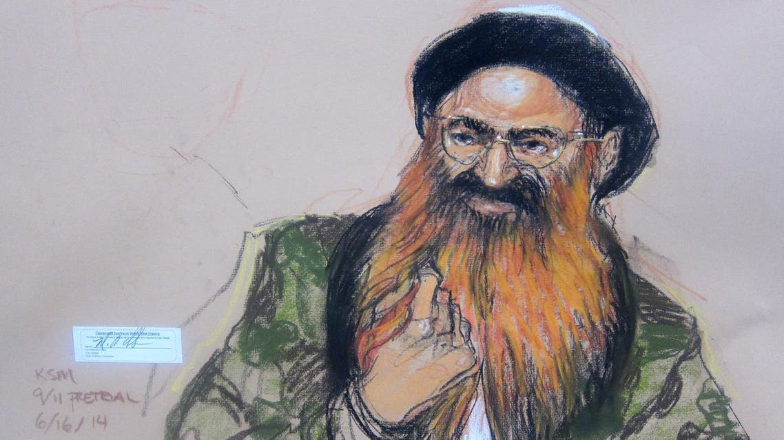 In this Pentagon-approved sketch by court artist Janet Hamlin, self-proclaimed Sept. 11 mastermind Khalid Sheikh Mohammad attends pretrial hearings in at the Guantanamo Bay US Naval Base in Cuba, Monday, June 16, 2014. (AP)
