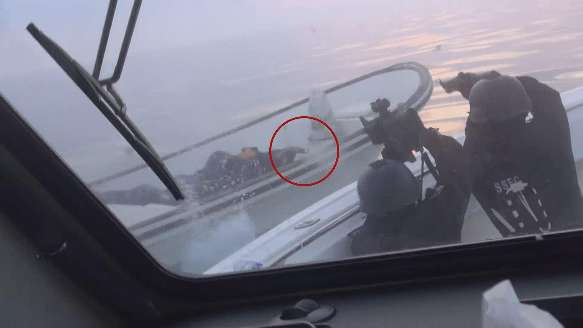 Photos given to Al Arabiya shows a fugitive vessel after it was intercepted by Bahrain's coastguard.