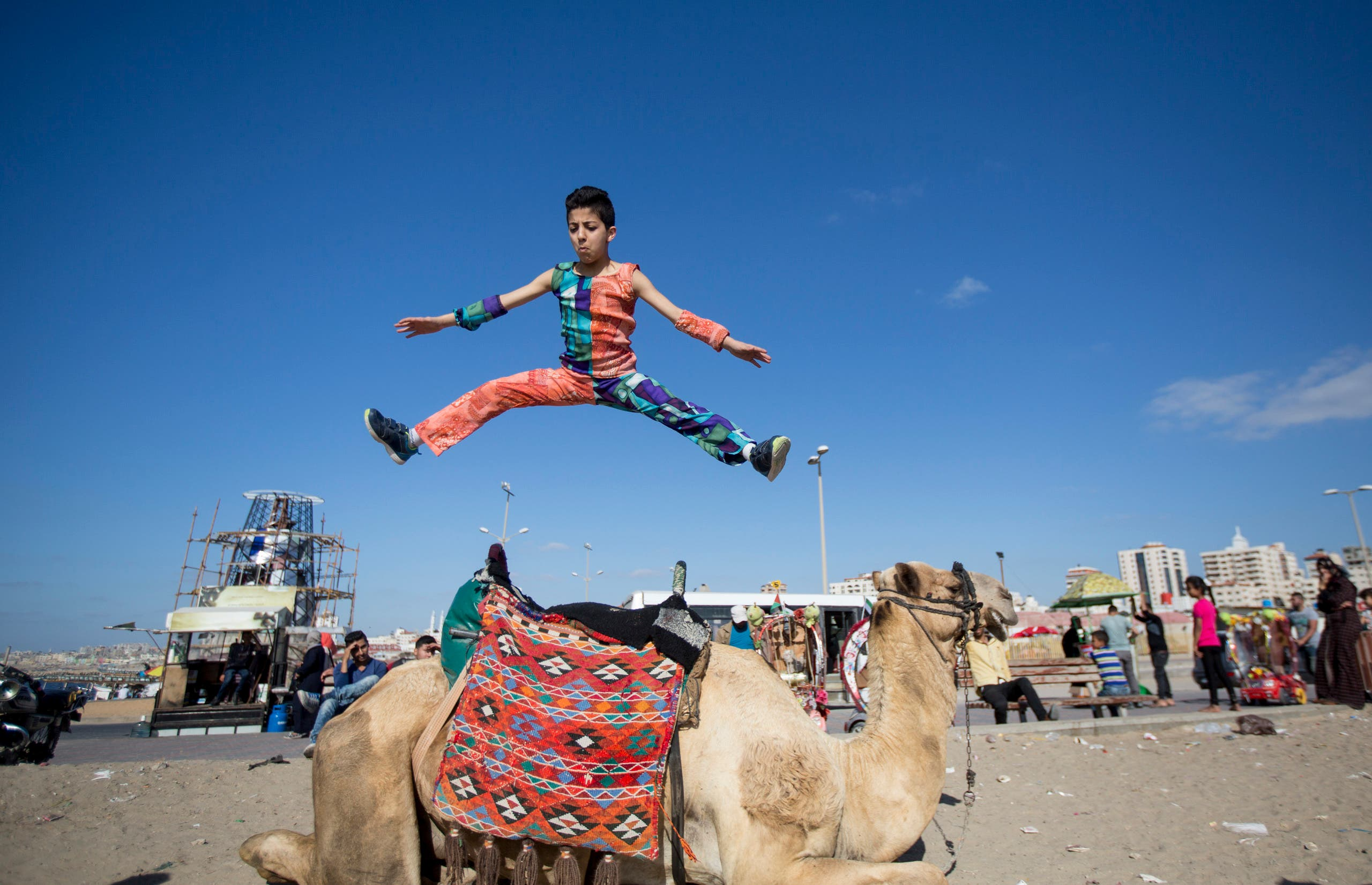 This file photo taken on April 28, 2016 shows then-twelve-year-old Palestinian teenager Mohammed al-Sheikh showing off his skills in Gaza city. AFP