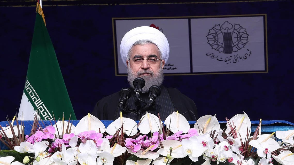A handout picture provided by the office of Iranian President Hassan Rouhani on February 10, 2017 shows him delivering a speech at Azadi Square in the capital Tehran during a ceremony to mark the 38th anniversary of the Islamic revolution. afp