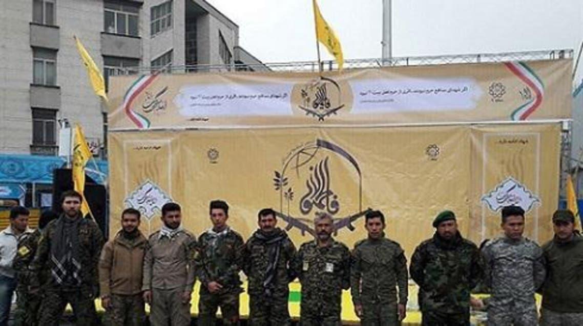 """جانب من مشاركة ميليشيا """"فاطميون"""" الذي يقاتل في سوريا لصالح الأسد باحتفالات ثورة إيران"""