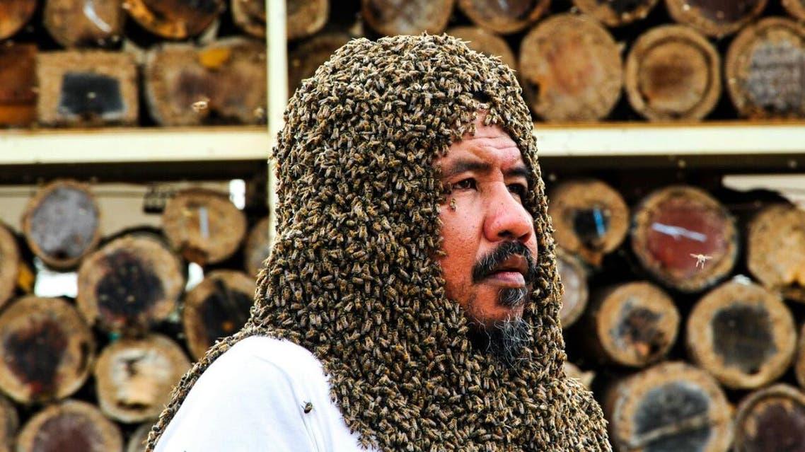 النحال زهير فطاني جمع 20 ألف نحلة حول وجهه