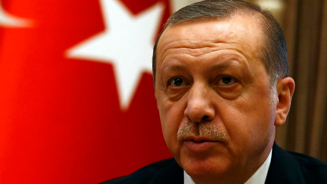Turkish President Tayyip Erdogan speaks to media after his meeting with Britain's Prime Minister Theresa May at the Presidential Palace in Ankara, Turkey, January 28, 2017