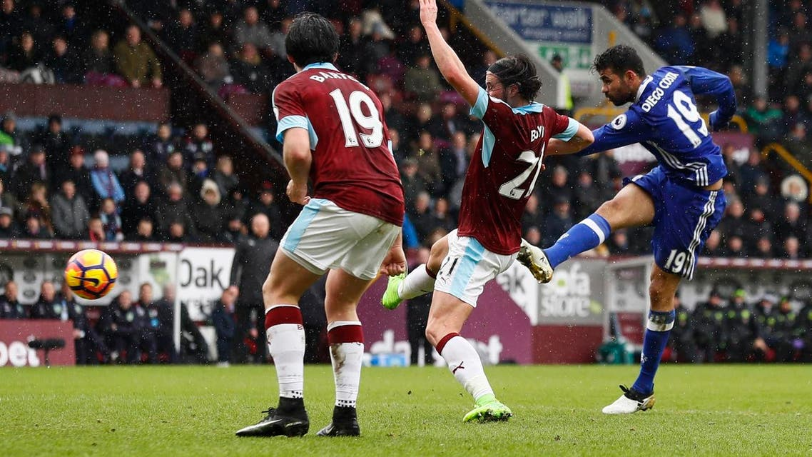 Chelsea striker Diego Costa playing against Burnley. Reuters