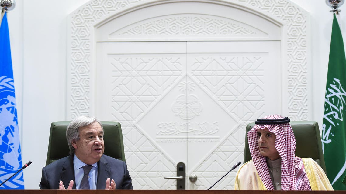 UN Secretary General Antonio Guterres (L) speaks alongside Saudi Minister of Foreign Affairs, Adel al-Jubeir, during a joint press conference held with in the Saudi capital Riyadh on February 12, 2017.