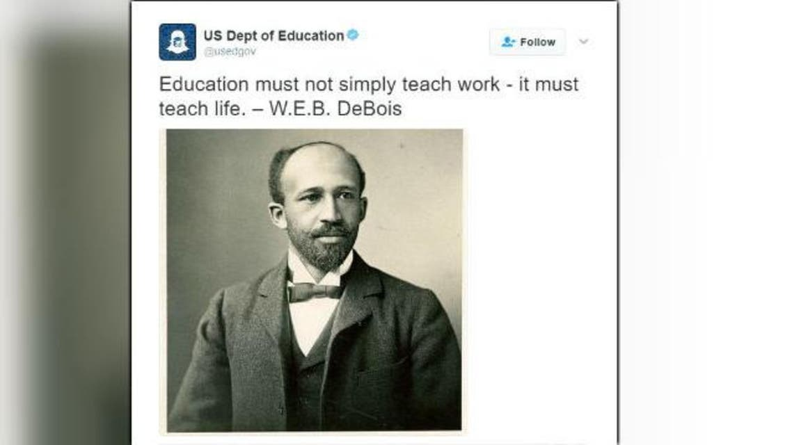 In a tweet Sunday morning from its official account, the department attributed a quotation to W.E.B. DeBois. (Twitter)