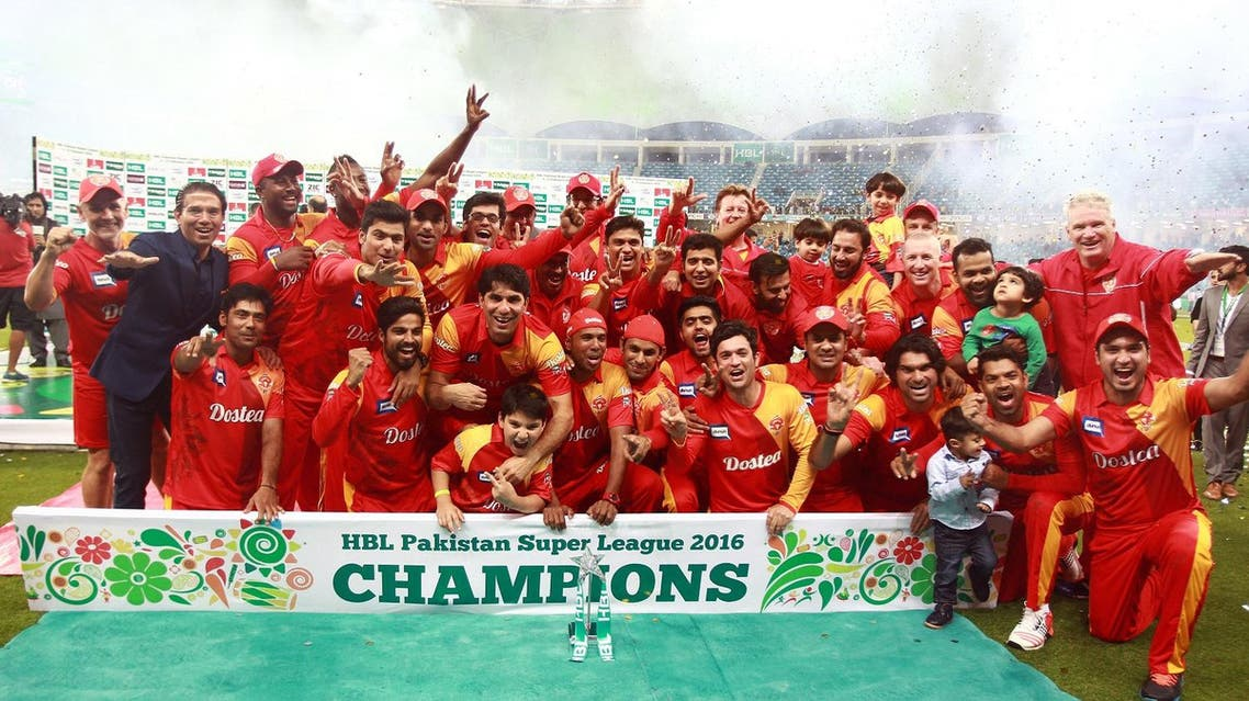 Players from the Islamabad United team celebrate winning the final of the Pakistan Super League against Quetta Gladiators at the Dubai cricket stadium on February 23, 2016. (File photo: AFP)