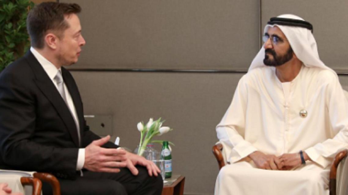 Tesla CEO Elon Musk with the ruler of Dubai. (Supplied)