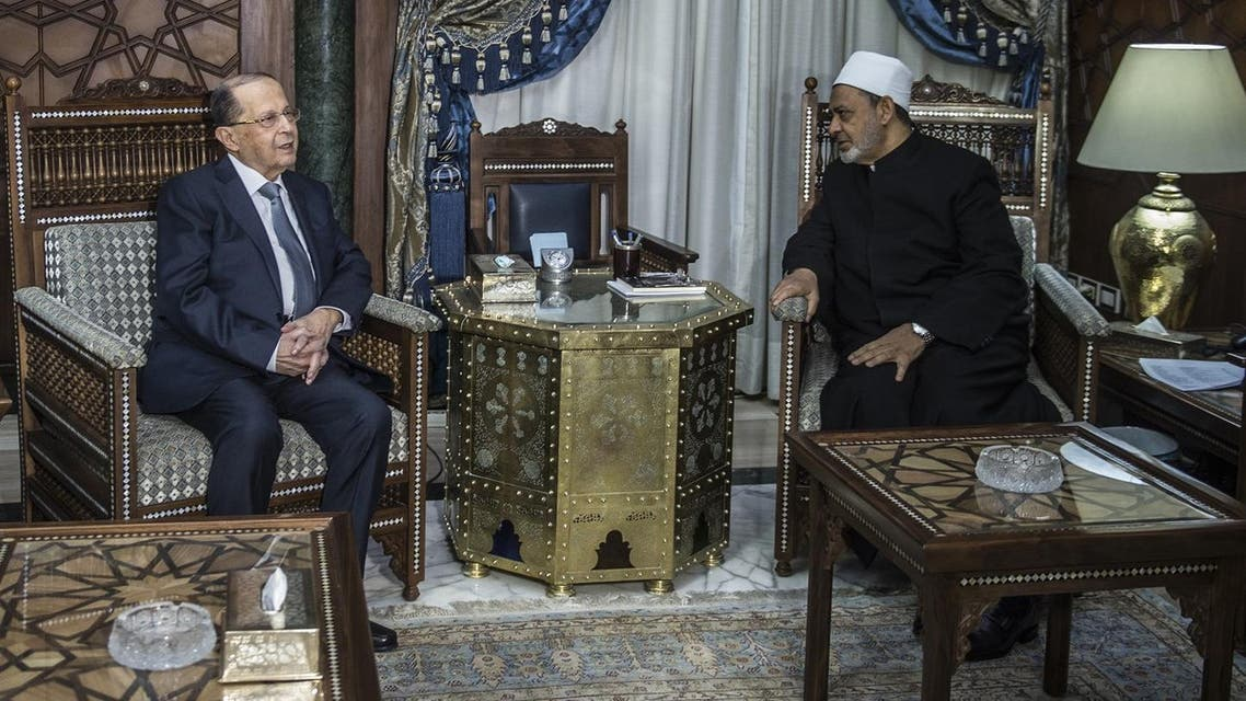 Aoun with Al-Azhar's Grand Sheikh in Cairo. (AFP)