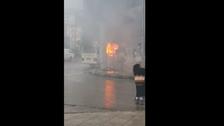 رجل يحرق حافلته العمومية احتجاجا على مخالفة سير حررت له