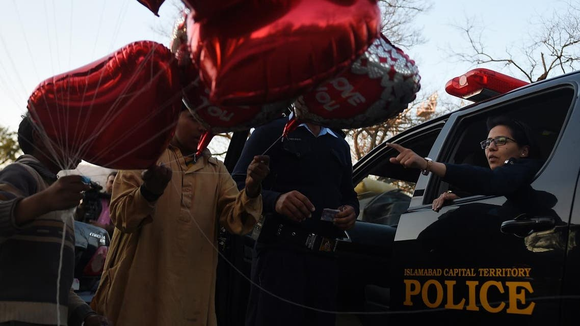 Valentine's Day balloons in Islamabad. (AFP)