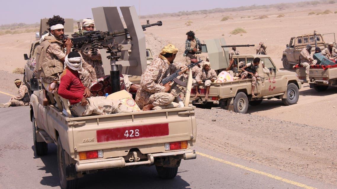 Members of the Yemeni army ride on the back of military trucks near the Red Sea coast city of al-Mokha, Yemen January 23, 2017. REUTERS/Fawaz Salman