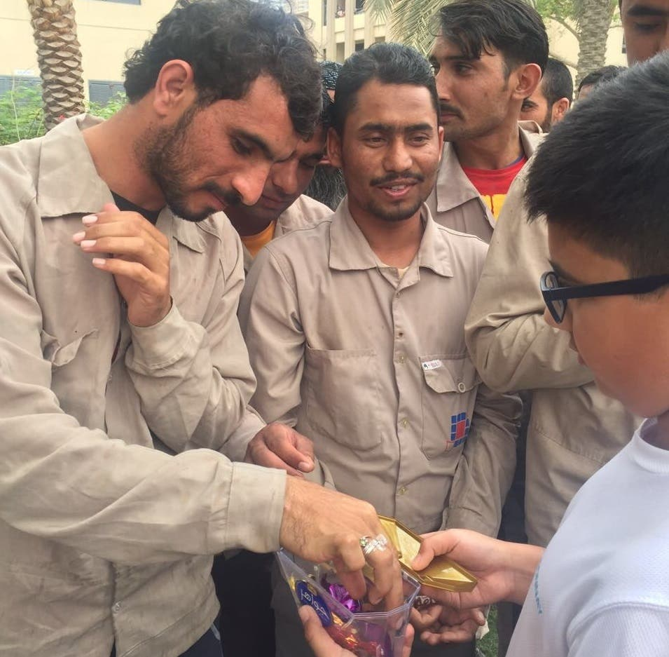 Workers enjoying surprise lunch party organized by Golden Age Group in Dubai on February 14, 2017. (Supplied)