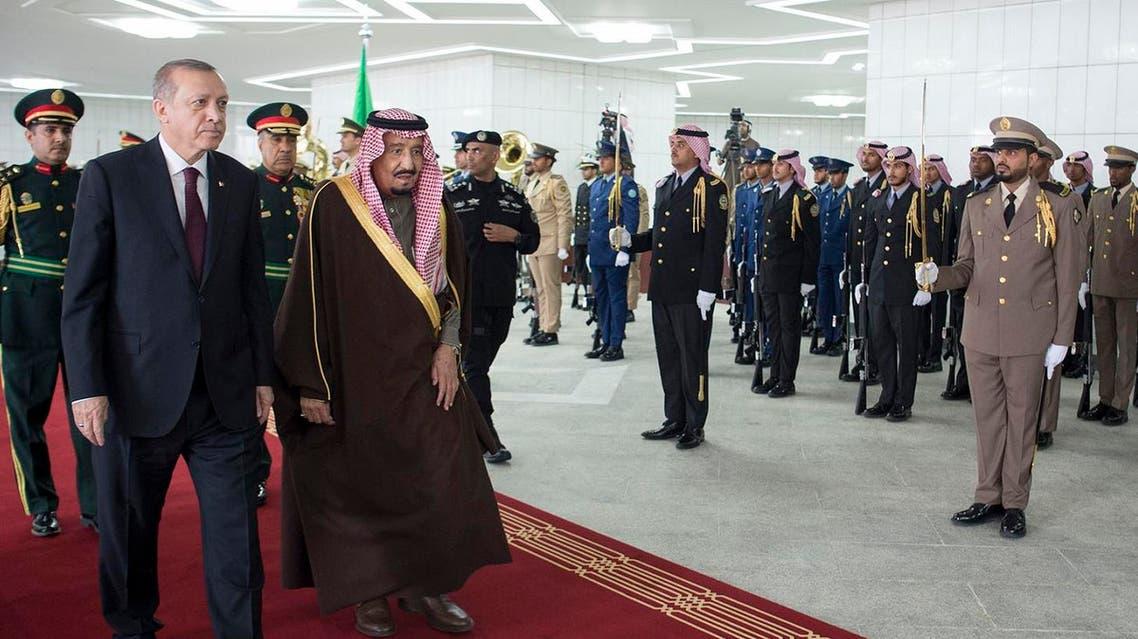 King Salman meets Turkish President Erdogan. (AFP)