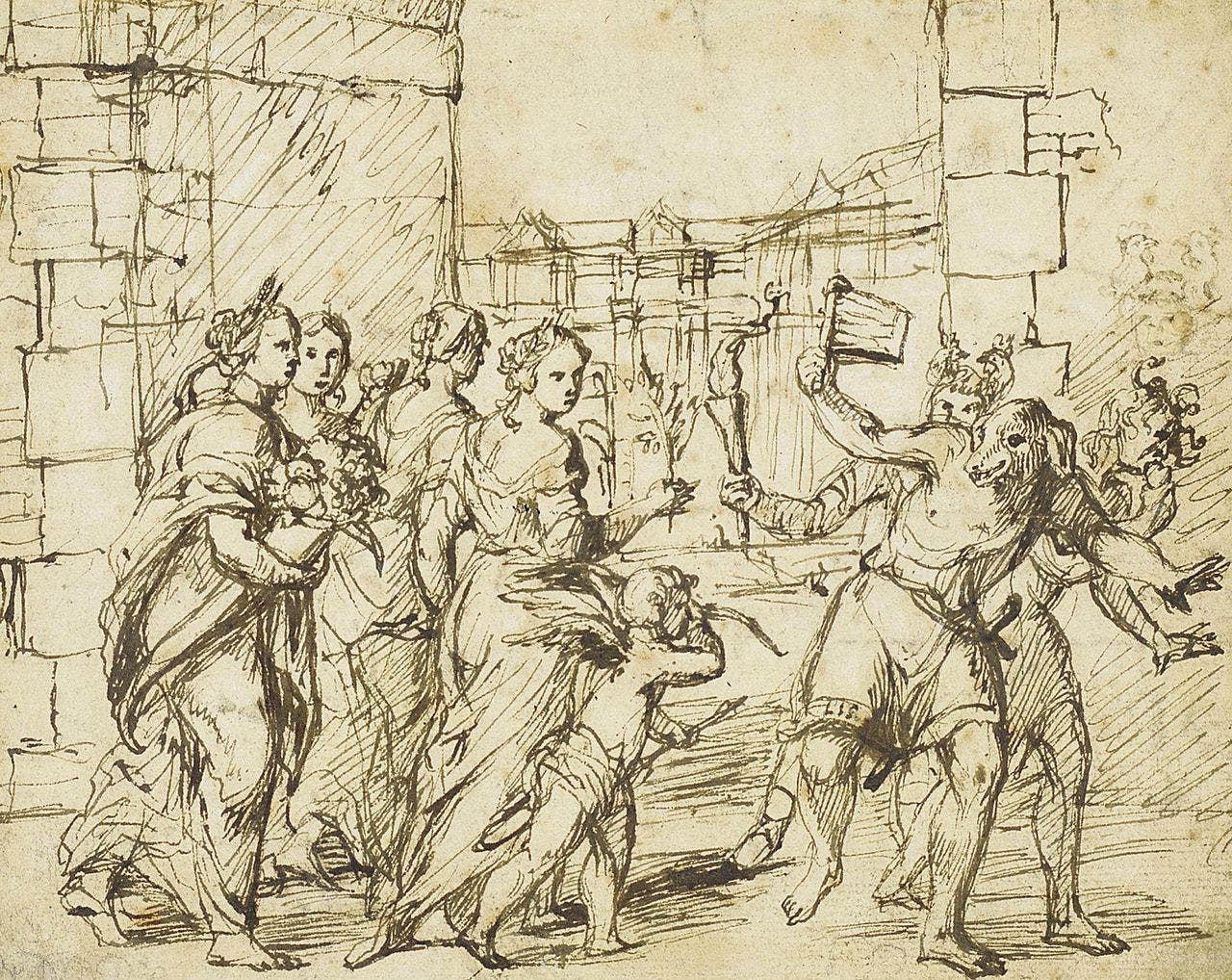 The Lupercalian Festival in Rome (ca. 1578–1610), drawing by the circle of Adam Elsheimer, showing the Luperci dressed as dogs and goats, with Cupid and personifications of fertility. (Wikimedia)