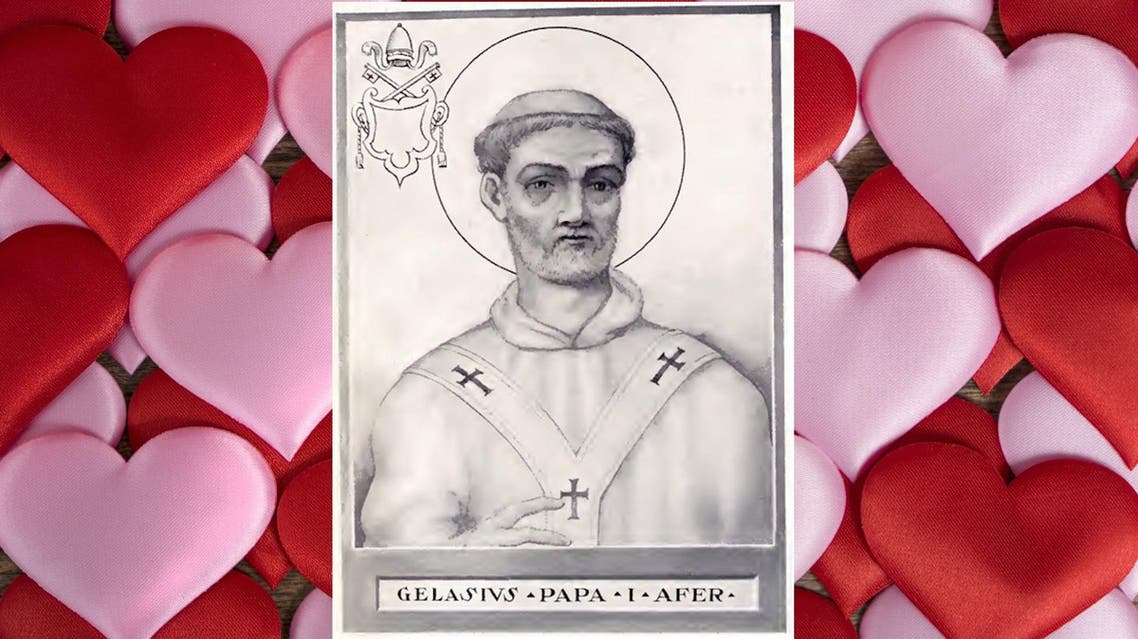 The pope who declared February 14 as Valentine's Day was Pope Gelasius I, the third and last Bishop of Rome of berber origin. (Wikimedia)