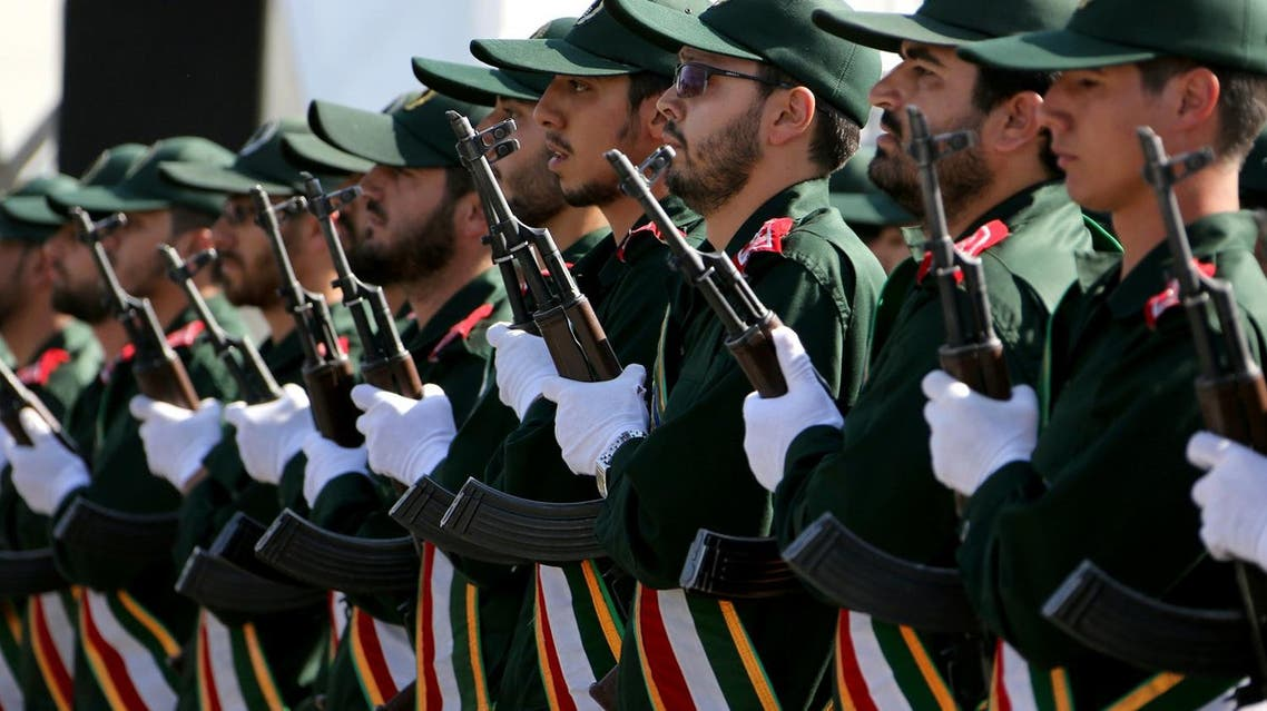 Iranian soldiers from the Revolutionary Guards march during the annual military parade marking the anniversary of the start of Iran's 1980-1988 war with Iraq, on September 22, 2015, in Tehran. (AFP)