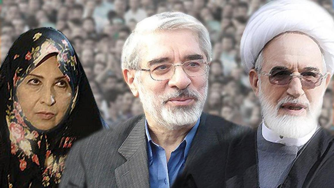 مير حسين موسوي وزوجته زهراء رهنورد ومهدي كروبي