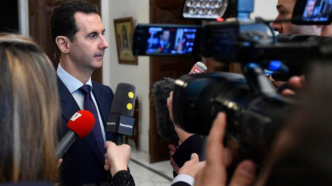 """""""It's against the terrorists that would infiltrate some of the immigrants to the West,"""" Assad said. (AFP)"""