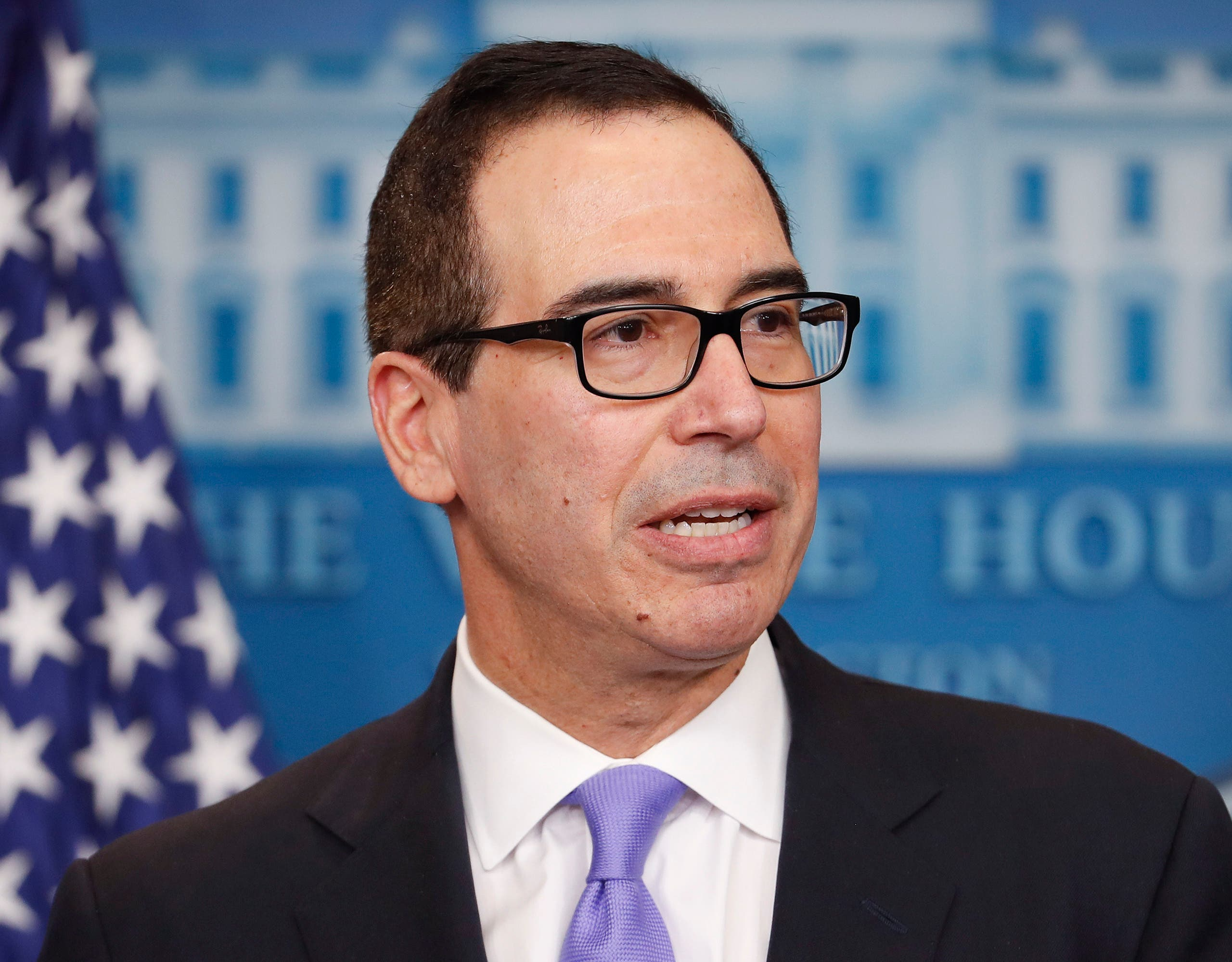 Treasury Secretary Steven Mnuchin speaks to the media during the daily briefing in the Brady Press Briefing Room of the White House in Washington, Tuesday, Feb. 14, 2017. (AP)